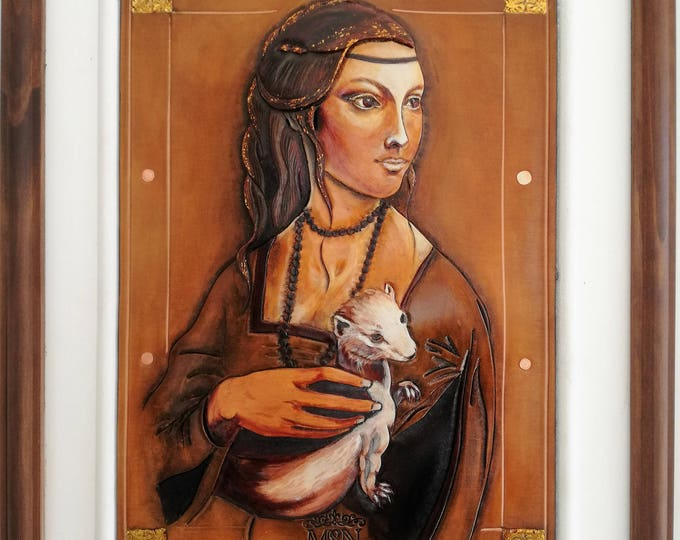 "Medieval Renaissance on tooled embossed leather painting portrait of Art ""the Lady in ermine"" inspired by da Vinci gilded with gold foil"
