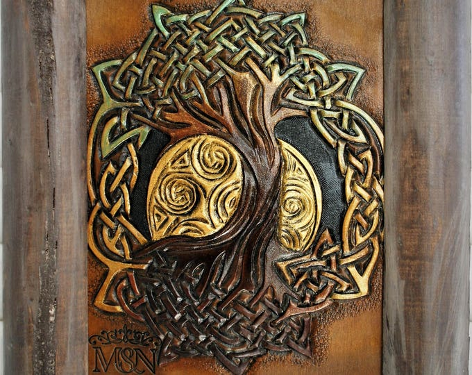 Table tooled leather tree of life Yggdrasil symbol pagan Celtic decoration