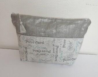 Large zipper pouch for women beige grey/silver