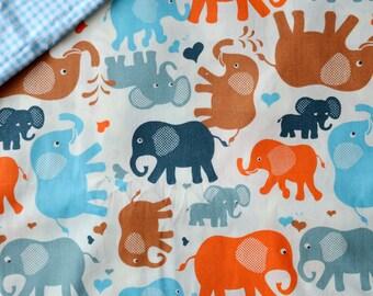 """ELEPHANTS"" tones orange/blue/grey pattern cotton fabric"