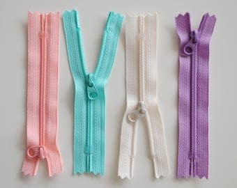 PASTELS colors choice - 10cms - zipper
