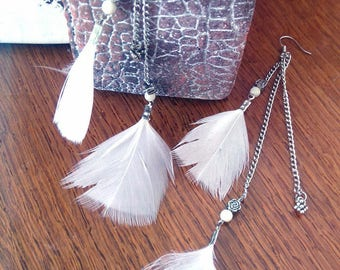 Serenity, white feathers and Agate beads earrings