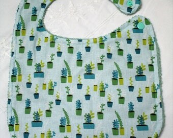 Small Succulents, baby bib