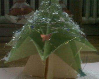 Christmas mark up green Christmas tree 3D origami