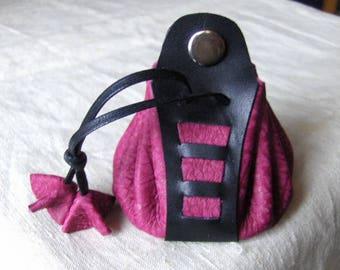 Worn purse wallet leather handmade fuchsia-black