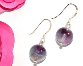 Fluorite and Sterling Silver 925 marked earrings