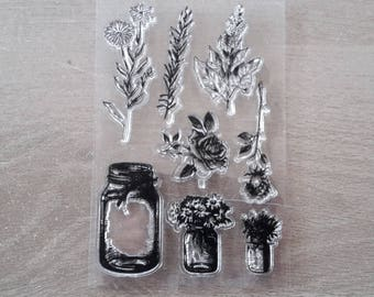 Stamp clear flower vases