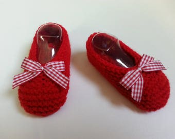 "Little feet ""ballerina way"" red booties 0-4 months accented with a coordinated - Gingham Bow"