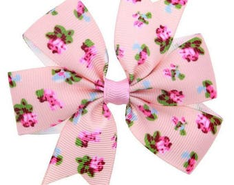 Floral hair clip pink bow - Alligator Clip - Christmas gift ideas