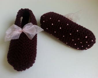 Slippers girls slip T 32.34 Burgundy enhanced with a bow