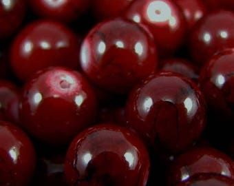 Set of 10 beads 10 mm drawbench glass dark red