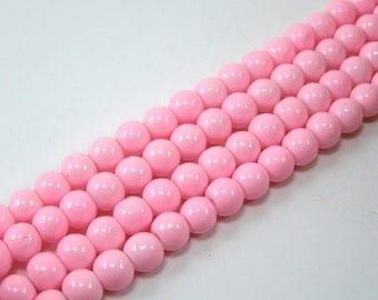 Set of 20 6 mm glass beads shiny light pink M