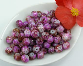 Beads 6 mm glass effect marbe purple set of 20