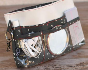 Organizer / Organizer purse gray white red bow tie