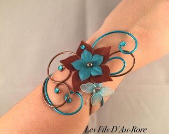 Wedding JASMINE chocolate & turquoise bracelet