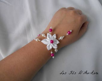 ATHENA bracelet with white satin and Pearl and fuschia flower
