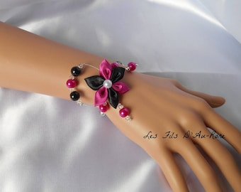 ANAIS bracelet with Pearl and Swarovski fuchsia and black satin flower