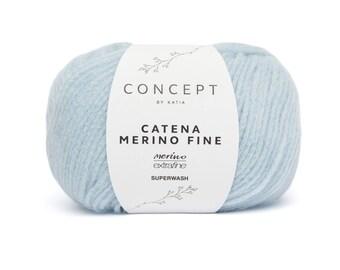 yarn MERINO (256) FINE chain blue Katia - fall/winter ball