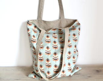Feathers tote bag in linen and cotton