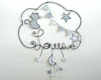 """""""Kitten dream"""" personalized wire name decor for nursery wall cloud"""