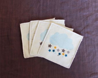 Set of 4 baby wipes washable cloud and stars