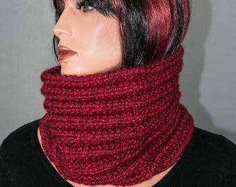 Red cowl or snood, dark, hand knitted, mixed