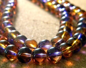 30 glass beads 6 mm - translucent 2 tones - purple and orange - PG303-5