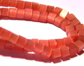 10 beads cube glass cat's eye - 4 mm - old rose PG22