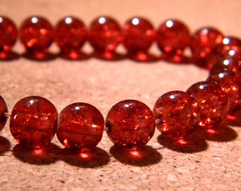 Crackle Glass 8 mm amber - PE281 50 beads