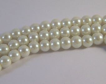 "glass beads 20 ""cultured pearl"" ivory 8 mm C4"