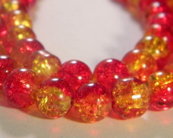 50 glass beads Crackle 2 tones-8 mm - red and yellow bright PE235 3