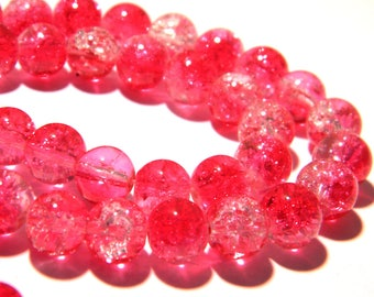 cracked glass - 40 pearls 8 mm - red and transparent K55 6