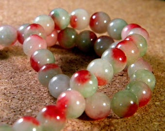 20 bead Jade 2 pale green and rust tones in 8 mm - gem stone - JAD21