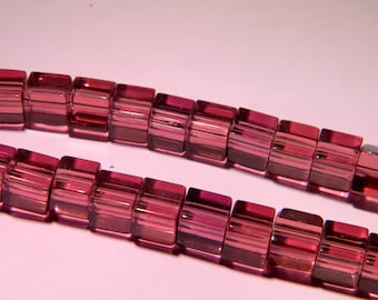 translucent glass - 8 mm-purple-PG136 cube 20 beads
