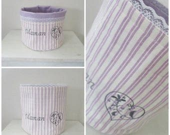 Embroidery MOM and heart color purple storage basket or organizer