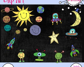 Space, Planets, Spaceship, Alien Hand Drawn Clip Art