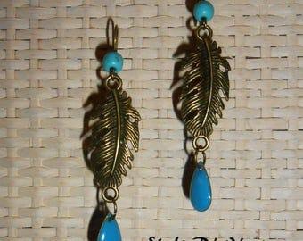 Earring style blue feather Bohemian Bronze