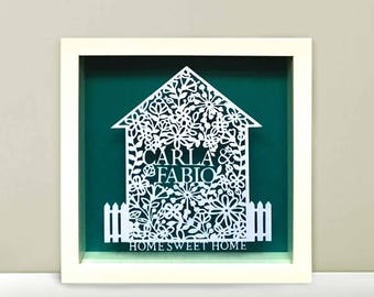 Personalised Home Sweet Home Papercut Frame. New Home Gift.