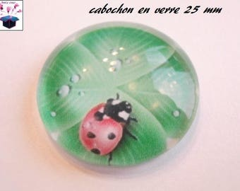 1 cabochon clear 25 mm clover brings good luck