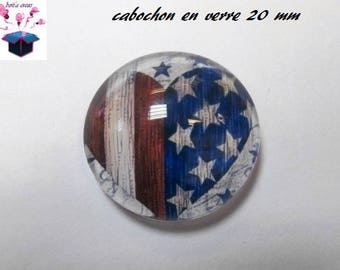 1 cabochon clear 20mm flag theme