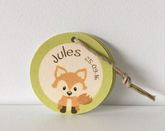 Label round baptism Fox - forest animals Theme