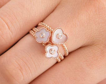 Antique Rose Gold Ring Set Mother of Pearl Unique Engagement Ring Set Floral Bezel Set Diamond Heart Shaped Luck Clover Friendship Beaded