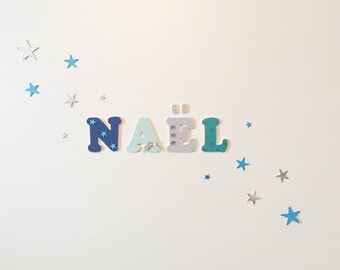 Shades of blue - Naël theme wooden letters