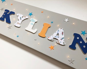 Canvas theme light blue and orange with rockets - name wood on canvas - tableau name - personalized - Kylián decoration