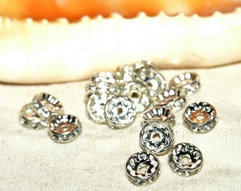 With 10 mm silver rhinestone rondelle spacers X 10