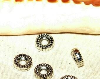 Beaded 10 mm Tibetan silver rondelle spacers X 5