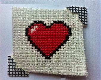 Pixel Heart Cross Stitch