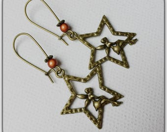 Fairy and star, vintage charm earrings