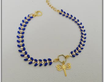 Chevron Royal Blue and gold spike chain bracelet, dragonfly