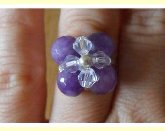 Transparent purple flower ring